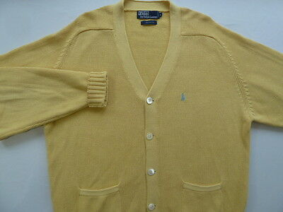 Polo Ralph Lauren Vintage Heritage Yellow Cotton Geek Cardigan Sweater L Large
