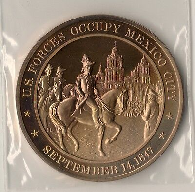 *1847 Mexican American War. US Occupies Mexico City. Franklin Mint Bronze Medal.