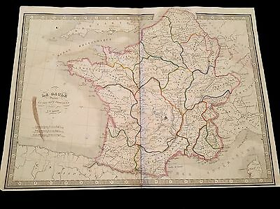 OLD MAP OF GAUL PROVINCES 1800s