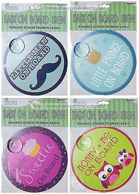 "B STUDIO 74 Suction Cup BABY ON BOARD SIGN 5.5"" Car Window *YOU CHOOSE* Boy/Girl"