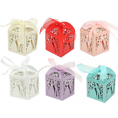 50 PCS  Luxury Wedding Party Sweets Cake Candy Gift Favour Favor Boxes Bags
