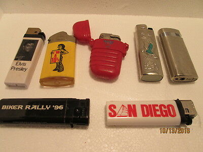 LOT OF 7 VINTAGE MIXED OLD LIGHTERS for parts or display