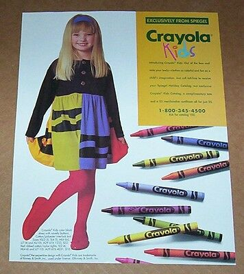 1991 print ad page -Crayola Crayons cute little girl fashion dress tights ADVERT
