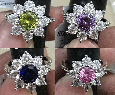 New Fashion 925 Silver Filled Multi Sapphire Birthstone Engagement Wedding Ring