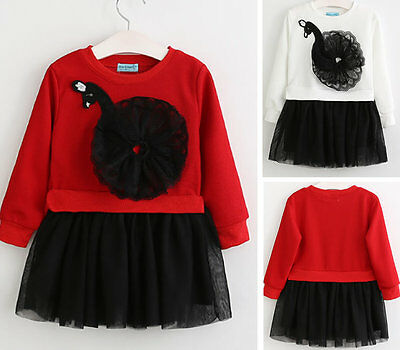Baby Girl Toddler Kids Swan Long Sleeve Dress Tutu Princess Clothes Outfit Skirt