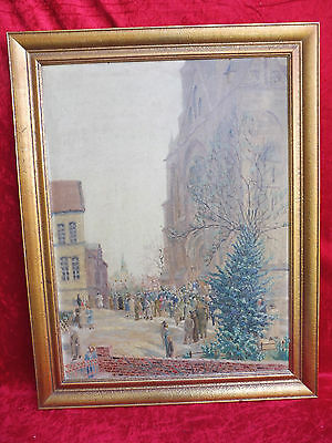 Pretty, old painting__animated Street Scene on a Church__
