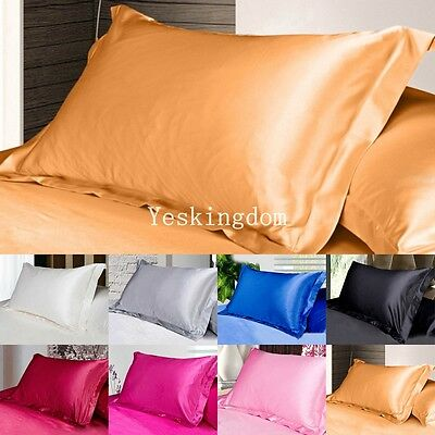 Pillow Case Luxury Case Silk Satin Housewife Pack Bedroom Pillow Cover Plain