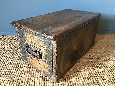A Small Petite Antique Waxed Solid Pitch Pine Chest Bible Box Storage Trunk VGC