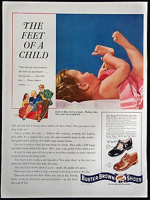 Vintage 1941 Buster Brown Girls and Boys Shoes Magazine Ad The Feet Of A Child