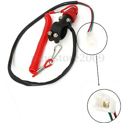 Motorcycle ATV Boat Engine Stop Kill Switch Safety Tether Cord Emergency Button
