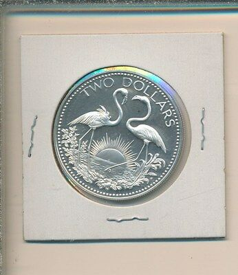 Bahamas $2.00 Silver - Flamingos 1975 Proof
