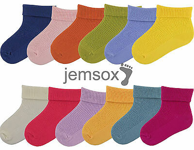 3 Pairs of Cotton Double Turndown Baby Socks - UK Made