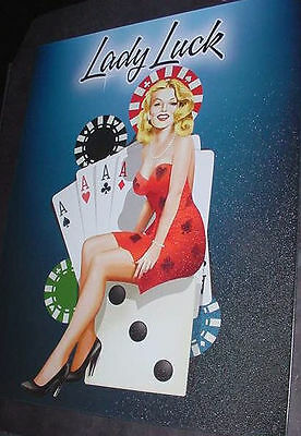 RETRO METAL TIN LADY LUCK WOMAN POKER CARD GAME SIGN NR Parler heart spade lucky