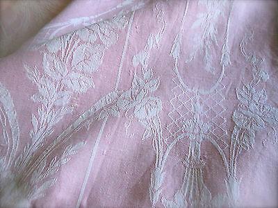 Antique French Soft Pink Roses Floral Linen Cotton Ticking Fabric ~ Art Nouveau