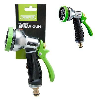 Draper Garden Hose Spray Gun Aluminium Body Soft Grip 7 Pattern Plant Sprayer