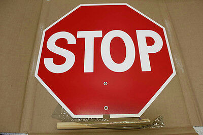 Lot of 12 Plastic Hand Held 18 in Stop Sign