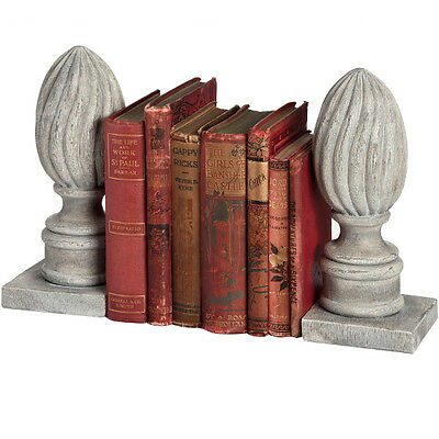 Antiqued Grey Acorn Finial Bookends Ornament Gift Resin
