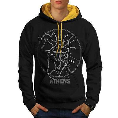 Wellcoda Athens City Map Fashion Mens Contrast Hoodie, Big Casual Jumper