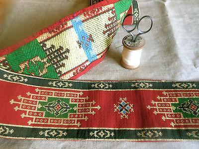 Antique 19thc Rare French Kilim Fabric Wide Trim ~ Red Green