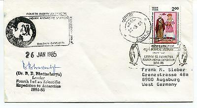 1985 Fourth Indian Antarctic Expediton Dr. Bhattacharya Polar Cover SIGNED
