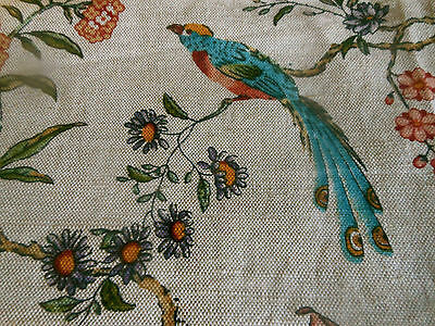 Vtg. French Floral Bird Linen Fabric ~ Blue Terra Cotta Lavender Gold ~ #1