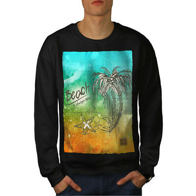 Island Casual Jumper wellcoda Palm Vacation Sea Mens Sweatshirt