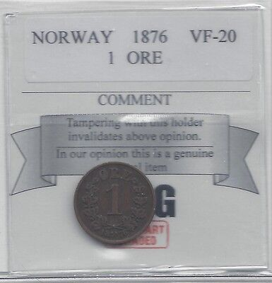 **1876** Norway, One Ore, Coin Mart Graded**VF-20**