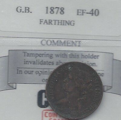 **1878**Great Britain, Farthing,  Coin Mart Graded**EF-40**