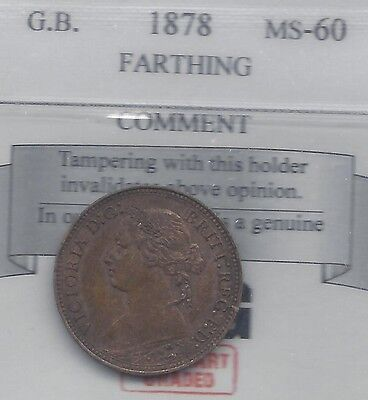 **1878**Great Britain, Farthing,  Coin Mart Graded**MS-60**