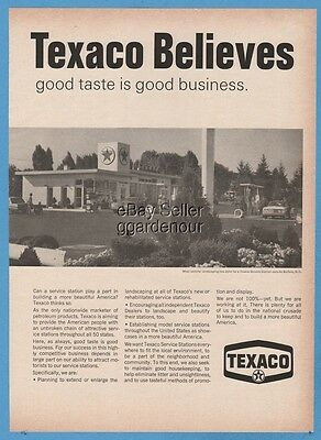1966 Texaco Gas Service Station Photo Buffalo NY Vintage Print Ad