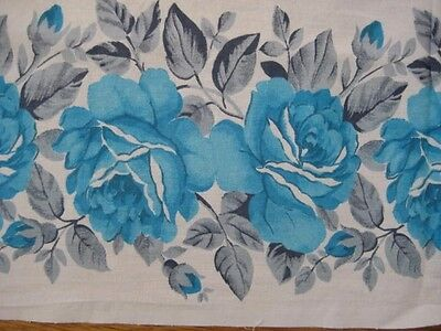 Vintage AQUA & Gray ROSES Spring Floral White Cotton Fabric Tablecloth 59 x 77
