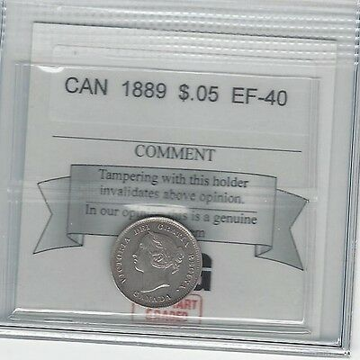 **1889**, Coin Mart Graded Canadian,  5 Cent, **EF-40**