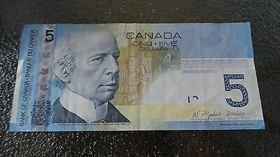 Canadian $5 Dollar Bank Note Bill AOL7800168 Circulated 2006 Canada