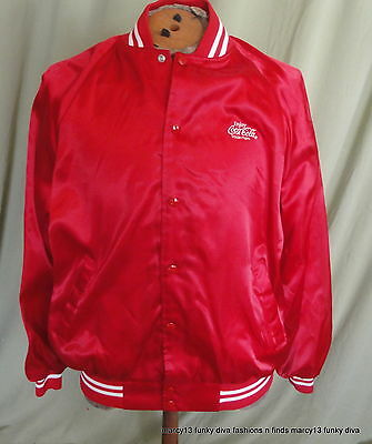 Great Vintage 80's  Red Satin Coca-Cola Bomber Baseball Jacket Men's L Unisex