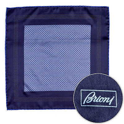 """New BRIONI Navy Mesh And Dots 15"""" Hand Made Rolled Pocket Square Handkerchief"""