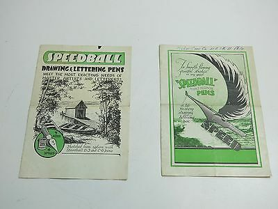 Lot Of 2 Original Vintage 1930's Speedball Fountain Pen Bifold Advertising Piece
