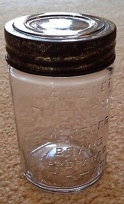 Antique French's Mustard Embossed Canning Jar W/ Glass Lid