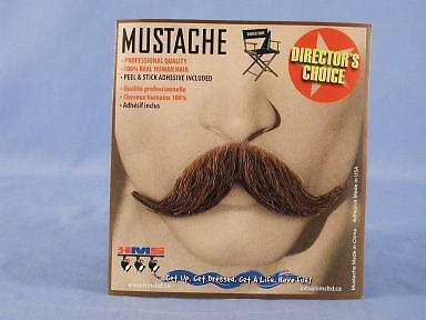 Old Western Cowboy Brown Real Human Hair Adult Costume Moustache