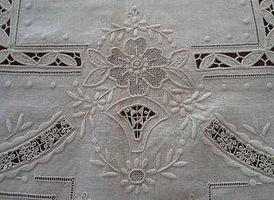 Vintage Cream Linen Needle Lace Tablecloth Embroidered Honeycomb Figural 51""
