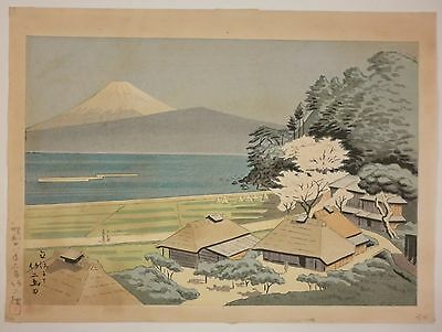 Original Vintage TAKEJI ASANO Mt Fuji at Tateho Japanese Woodblock Print