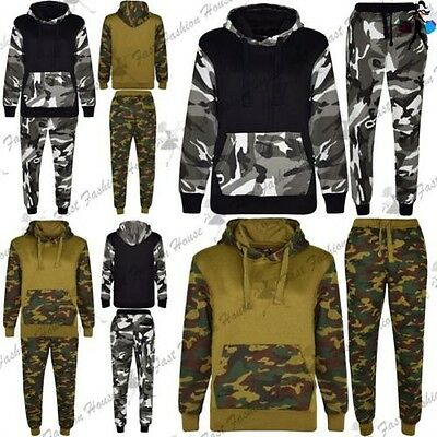 Kids Boys Kangaroo Pocket Bottoms Army Military Jogger Hoodie Hooded Tracksuit