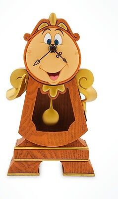 """NEW Disney Parks Beauty and the Beast Cogsworth Clock 10"""" Figure Working Clock"""