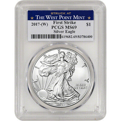 2017-(W) American Silver Eagle - PCGS MS69 - First Strike - West Point Label