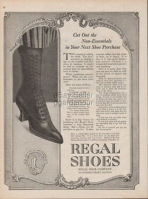 1918 Regal Shoes Boston MA Women s Vintage High Top Lace Up Boots Fashion WWI Ad