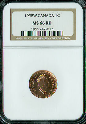 1998-W Canada Cent Ngc Ms-66 Red  Spotless *