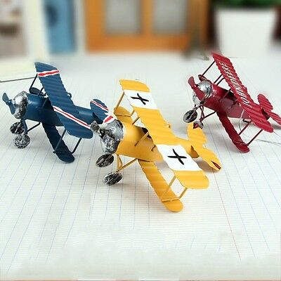 Retro Vintage Red Plane Airplane Aircraft Model Home Decoration Ornament Toy