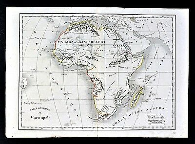 1830 Langlois Atlas Map - Africa - Guinea Mountains of Kong & Moon Angola South