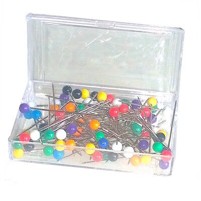 Hinged Rectangle Box Multi Coloured Plastic Head Pins - 80pcs UK SELLER