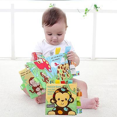 Animal Puppy Monkey Story Book Baby Interactive Education Soft Cloth Book LG