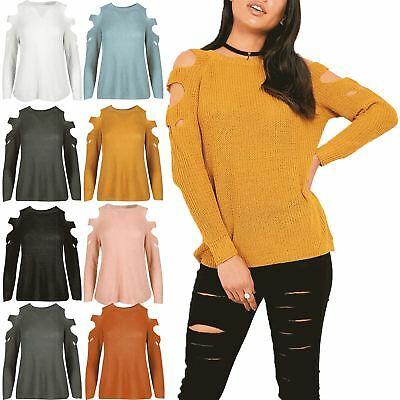 Womens Cold Shoulder Chunky Knit Cut Out Arms Ripped Sweater Top Pullover Jumper